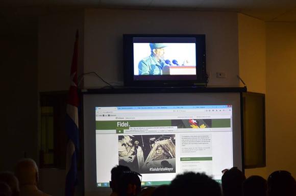 Presentación al público del sitio web que la red Infomed dedicara a Fidel, un espacio que se integra a la red de portales de temas de salud como un valioso recurso de información sobre la huella de nuestro comandante en la salud pública de Cuba y el mundo. 2017
